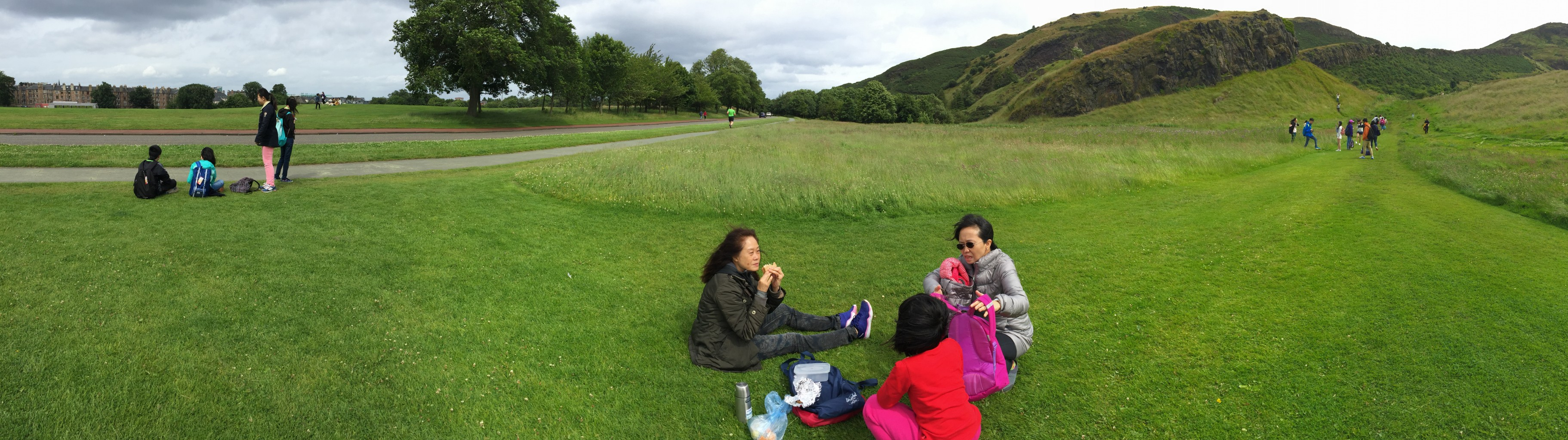 Our Hong Kong group enjoyed a picnic at the foot of Arthur's Seat after a hike around Saint Anthony's Chapel and Saint Margaret's Loch