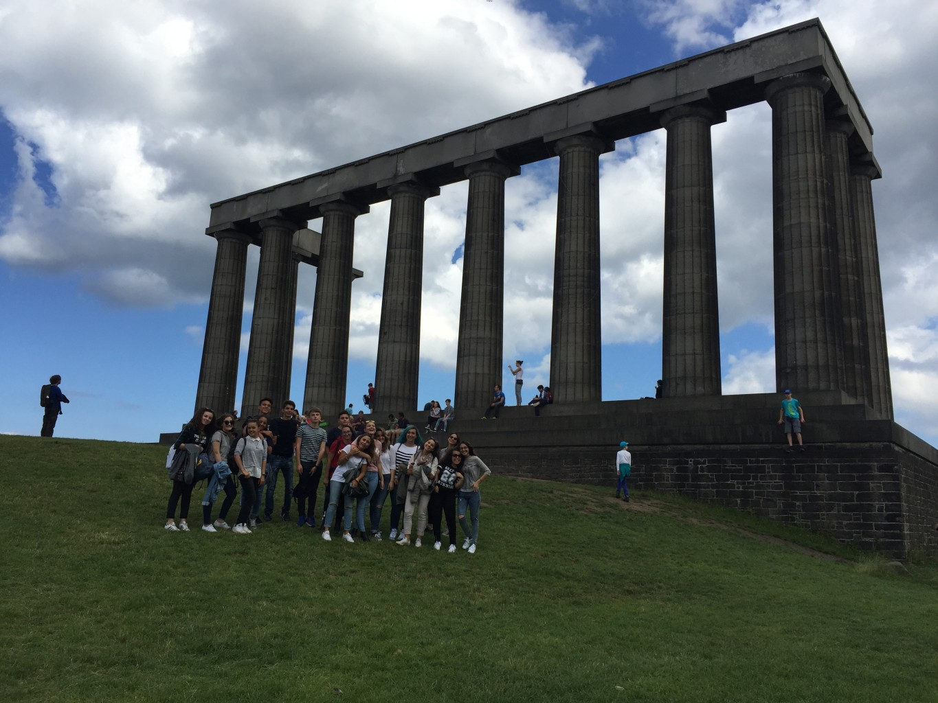 One of our Italian groups enjoying a beautiful afternoon on Calton Hill